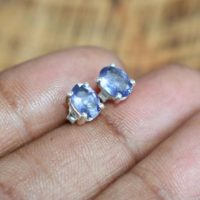 Cut Iolite 925 Solid Sterling Silver Dainty Oval Stud Earring ~ Gift | Natural genuine Gemstone jewelry. Buy crystal jewelry, handmade handcrafted artisan jewelry for women.  Unique handmade gift ideas. #jewelry #beadedjewelry #beadedjewelry #gift #shopping #handmadejewelry #fashion #style #product #jewelry #affiliate #ad