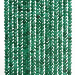 Shop Jade Faceted Beads! 3x2mm Dark Green Jade Gemstone Faceted Rondelle Loose Beads 15 inch Full Strand (90182959-782) | Natural genuine faceted Jade beads for beading and jewelry making.  #jewelry #beads #beadedjewelry #diyjewelry #jewelrymaking #beadstore #beading #affiliate #ad