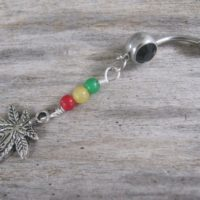 Jade Pot Leaf Belly Ring, Rasta Belly Button Ring, Marijuana Belly Piercing, Reggae, Rastafarian Inspired, Gemstone, Ganja Body Jewelry, 420 | Natural genuine Gemstone jewelry. Buy crystal jewelry, handmade handcrafted artisan jewelry for women.  Unique handmade gift ideas. #jewelry #beadedjewelry #beadedjewelry #gift #shopping #handmadejewelry #fashion #style #product #jewelry #affiliate #ad