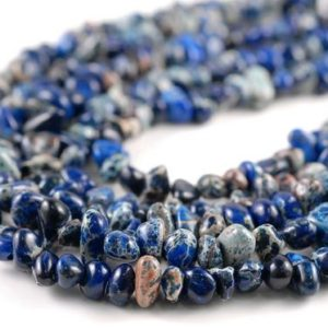 Shop Jasper Chip & Nugget Beads! 8-10mm Sea Sediment Imperial Jasper Blue Gemstone Nugget Pebble Loose Beads 15.5 inch LOT 1,2,6,12 and 50 (90182563-397) | Natural genuine chip Jasper beads for beading and jewelry making.  #jewelry #beads #beadedjewelry #diyjewelry #jewelrymaking #beadstore #beading #affiliate #ad