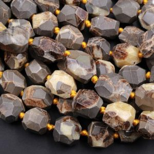 """Shop Jasper Faceted Beads! Natural Utah Septarian Beads Large Chunky Faceted Nugget Beads Irregular Freeform Octagon Square Yellow Brown Gray Jasper 15.5"""" Strand 