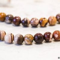"""M / Brown Zebra Jasper 10mm Smooth Round Beads 15.5"""" Long, Natural Jasper Good Polished Beads For Necklace For Jewelry Making 