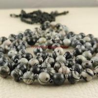 Zebra Jasper Mala Beads, Black White Swirl Knotted Mala, Relaxation, Compassion, Calming, 108 Bead Hand Knotted Mala, Long Tassel Mala 3994 | Natural genuine Gemstone jewelry. Buy crystal jewelry, handmade handcrafted artisan jewelry for women.  Unique handmade gift ideas. #jewelry #beadedjewelry #beadedjewelry #gift #shopping #handmadejewelry #fashion #style #product #jewelry #affiliate #ad