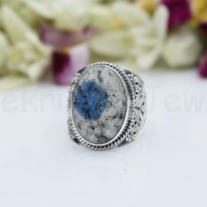 Shop Jasper Rings! K2 Jasper Gemstone Ring, Sterling Silver Ring, Oval Shape Stone Ring, Statement Ring, Cabochon Gemstone, Designer Wide Band Ring. Boho | Natural genuine Jasper rings, simple unique handcrafted gemstone rings. #rings #jewelry #shopping #gift #handmade #fashion #style #affiliate #ad