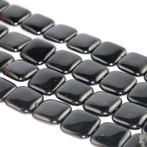 Shop Jet Beads! 21x21mm Black Jet Gemstone Organic Perfect Square Loose Beads 7.5 inch Half Strand (90186869-883)   Natural genuine other-shape Jet beads for beading and jewelry making.  #jewelry #beads #beadedjewelry #diyjewelry #jewelrymaking #beadstore #beading #affiliate #ad