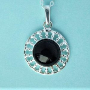 Shop Jet Pendants! Whitby Jet And Sterling Silver Pendant   Natural genuine Jet pendants. Buy crystal jewelry, handmade handcrafted artisan jewelry for women.  Unique handmade gift ideas. #jewelry #beadedpendants #beadedjewelry #gift #shopping #handmadejewelry #fashion #style #product #pendants #affiliate #ad