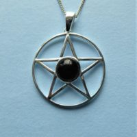 Whitby Jet And Sterling Silver Pentagram Pendant | Natural genuine Gemstone jewelry. Buy crystal jewelry, handmade handcrafted artisan jewelry for women.  Unique handmade gift ideas. #jewelry #beadedjewelry #beadedjewelry #gift #shopping #handmadejewelry #fashion #style #product #jewelry #affiliate #ad