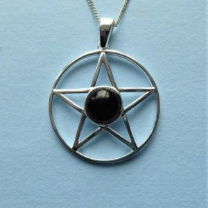 Shop Jet Jewelry! Whitby Jet And Sterling Silver Pentagram Pendant | Natural genuine Jet jewelry. Buy crystal jewelry, handmade handcrafted artisan jewelry for women.  Unique handmade gift ideas. #jewelry #beadedjewelry #beadedjewelry #gift #shopping #handmadejewelry #fashion #style #product #jewelry #affiliate #ad