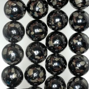 Shop Jet Beads! 16mm Black Jet Pyrite Inclusions Gemstone Grade AA Black Round Loose Beads 7.5 inch Half Strand (90186959-822)   Natural genuine round Jet beads for beading and jewelry making.  #jewelry #beads #beadedjewelry #diyjewelry #jewelrymaking #beadstore #beading #affiliate #ad
