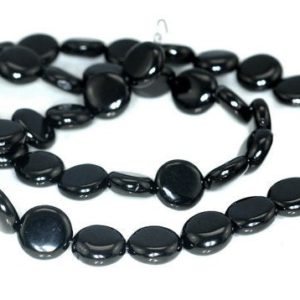 Shop Jet Beads! FREE USA Ship 10mm Black Jet Gemstone Flat Round Coin Button Loose Beads 16 inch Full Strand LOT 1,2,6,12 and 50 (90186928-826)   Natural genuine round Jet beads for beading and jewelry making.  #jewelry #beads #beadedjewelry #diyjewelry #jewelrymaking #beadstore #beading #affiliate #ad