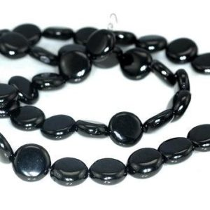 Shop Jet Beads! FREE USA Ship 8mm Black Jet Gemstone Flat Round Coin Button Loose Beads 16 inch Full Strand LOT 1,2,6,12 and 50 (90186929-826)   Natural genuine round Jet beads for beading and jewelry making.  #jewelry #beads #beadedjewelry #diyjewelry #jewelrymaking #beadstore #beading #affiliate #ad