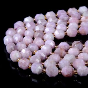 Shop Kunzite Beads! 8MM Natural Purple Pink Kunzite Gemstone Grade AAA Faceted Prism Double Point Cut Loose Beads (D37)   Natural genuine faceted Kunzite beads for beading and jewelry making.  #jewelry #beads #beadedjewelry #diyjewelry #jewelrymaking #beadstore #beading #affiliate #ad