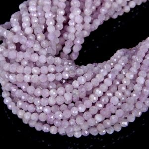 Natural Kunzite Gemstone Violet Purple Grade AA 2mm 3mm 4mm Micro Faceted Round Loose Beads 15.5 inch Full Strand | Natural genuine beads Gemstone beads for beading and jewelry making.  #jewelry #beads #beadedjewelry #diyjewelry #jewelrymaking #beadstore #beading #affiliate #ad