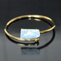 Kyanite Bangle Bracelet * Gold Plated 18k Or Silver Plated * Gemstone * Gypsy   Natural genuine Gemstone jewelry. Buy crystal jewelry, handmade handcrafted artisan jewelry for women.  Unique handmade gift ideas. #jewelry #beadedjewelry #beadedjewelry #gift #shopping #handmadejewelry #fashion #style #product #jewelry #affiliate #ad