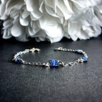 Kyanite Rough Crystal Bracelet Sterling Silver Anklet | Natural genuine Gemstone jewelry. Buy crystal jewelry, handmade handcrafted artisan jewelry for women.  Unique handmade gift ideas. #jewelry #beadedjewelry #beadedjewelry #gift #shopping #handmadejewelry #fashion #style #product #jewelry #affiliate #ad