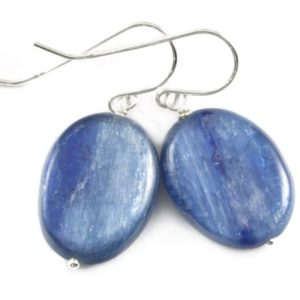 Shop Kyanite Earrings! Kyanite Earrings High Quality Raw Large Smooth Oval Drop 14k Solid Gold or Filled or Sterling Silver Rich Blue Natural Simple Basic  Drops | Natural genuine Kyanite earrings. Buy crystal jewelry, handmade handcrafted artisan jewelry for women.  Unique handmade gift ideas. #jewelry #beadedearrings #beadedjewelry #gift #shopping #handmadejewelry #fashion #style #product #earrings #affiliate #ad
