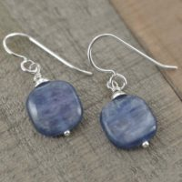 Kyanite Earrings In Silver, Blue Square Gemstone Jewelry, Dangle Earrings, Birthday Gifts | Natural genuine Gemstone jewelry. Buy crystal jewelry, handmade handcrafted artisan jewelry for women.  Unique handmade gift ideas. #jewelry #beadedjewelry #beadedjewelry #gift #shopping #handmadejewelry #fashion #style #product #jewelry #affiliate #ad