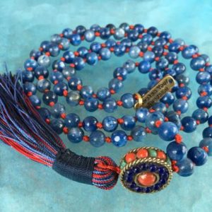 Shop Kyanite Necklaces! 7 mm AAA Grade Kyanite Mala Beads Necklace, kyanite Jewelry, Kyanite knotted Healing Mala Beads, Energized 108 Genuine Kyanite Gemstone Mala   Natural genuine Kyanite necklaces. Buy crystal jewelry, handmade handcrafted artisan jewelry for women.  Unique handmade gift ideas. #jewelry #beadednecklaces #beadedjewelry #gift #shopping #handmadejewelry #fashion #style #product #necklaces #affiliate #ad