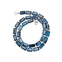 Natural Indigo Kyanite Beaded Necklace, 6x11mm Blue Kyanite Faceted Rectangle Beads Necklace, Kyanite Jewelry, Women's Necklace, gift For Her | Natural genuine Gemstone jewelry. Buy crystal jewelry, handmade handcrafted artisan jewelry for women.  Unique handmade gift ideas. #jewelry #beadedjewelry #beadedjewelry #gift #shopping #handmadejewelry #fashion #style #product #jewelry #affiliate #ad