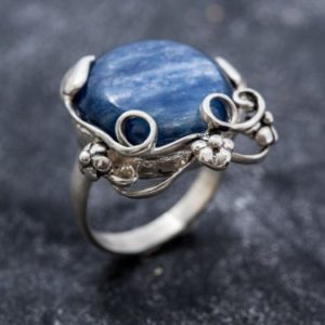 Shop Kyanite Rings! Blue Flower Ring, Natural Kyanite Ring, Blue Kyanite, Vintage Rings, African Stone, Blue Ring, Natural Stone, Flower Ring, Solid Silver Ring   Natural genuine Kyanite rings, simple unique handcrafted gemstone rings. #rings #jewelry #shopping #gift #handmade #fashion #style #affiliate #ad