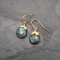Greenish Labradorite Earrings, Short Natural Gemstone Dangle, Dotted Teardrop, Heart Shape Genuine Labradorite, Green Flash | Natural genuine Gemstone jewelry. Buy crystal jewelry, handmade handcrafted artisan jewelry for women.  Unique handmade gift ideas. #jewelry #beadedjewelry #beadedjewelry #gift #shopping #handmadejewelry #fashion #style #product #jewelry #affiliate #ad