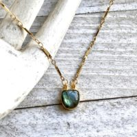 Labradorite Necklace, dainty Labradorite Necklace, blue Flash Labradorite, gemstone Necklace, labradorite Jewelry, gold Rimmed Gemstone, wife Gift | Natural genuine Gemstone jewelry. Buy crystal jewelry, handmade handcrafted artisan jewelry for women.  Unique handmade gift ideas. #jewelry #beadedjewelry #beadedjewelry #gift #shopping #handmadejewelry #fashion #style #product #jewelry #affiliate #ad