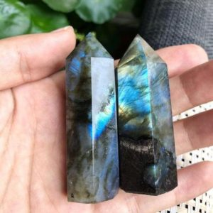 Shop Labradorite Points & Wands! Natural Labradorite Crystal Wand Point Healing Obelisk-Spiritual Protection Meditation Energy Reiki Gemstone Hexagonal Tower Home Decoration | Natural genuine stones & crystals in various shapes & sizes. Buy raw cut, tumbled, or polished gemstones for making jewelry or crystal healing energy vibration raising reiki stones. #crystals #gemstones #crystalhealing #crystalsandgemstones #energyhealing #affiliate #ad