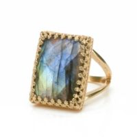 Rose Gold Labradorite Ring · Gemstone Ring · Rectangular Ring · Large Ring · Big Statement Ring · Natural Stone Ring · Bridal Ring | Natural genuine Gemstone jewelry. Buy handcrafted artisan wedding jewelry.  Unique handmade bridal jewelry gift ideas. #jewelry #beadedjewelry #gift #crystaljewelry #shopping #handmadejewelry #wedding #bridal #jewelry #affiliate #ad