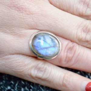 Shop Labradorite Rings! Simple Blue Flash Labradorite Ring // Labradorite Jewelry // Sterling Silver // Village Silversmith | Natural genuine Labradorite rings, simple unique handcrafted gemstone rings. #rings #jewelry #shopping #gift #handmade #fashion #style #affiliate #ad