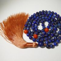 Lapis Lazuli Aaa Knotted Mala (108 + 1 + 3) With Three Taiwanese Coral Spacer Beads, 6.5-mm Beads And A Millennial Pink Tassel 2453 | Natural genuine Gemstone jewelry. Buy crystal jewelry, handmade handcrafted artisan jewelry for women.  Unique handmade gift ideas. #jewelry #beadedjewelry #beadedjewelry #gift #shopping #handmadejewelry #fashion #style #product #jewelry #affiliate #ad