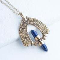Petra / Lapis Lazuli Necklace, Bronze Pendant, Crystal Point Necklace, Statement Necklace, Bohemian Necklace, Warrior Jewelry | Natural genuine Gemstone jewelry. Buy crystal jewelry, handmade handcrafted artisan jewelry for women.  Unique handmade gift ideas. #jewelry #beadedjewelry #beadedjewelry #gift #shopping #handmadejewelry #fashion #style #product #jewelry #affiliate #ad