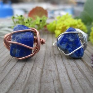 Natural Lapis Lazuli crystal ring, lapis lazuli ring, sterling silver lapis ring, copper lapis ring, made to order, choose your size, denim | Natural genuine Gemstone rings, simple unique handcrafted gemstone rings. #rings #jewelry #shopping #gift #handmade #fashion #style #affiliate #ad