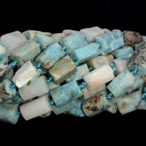 Genuine Natural Rough Larimar Gemstone Blue Grade A 9×7-11x8MM Faceted Round Tube Loose Beads | Natural genuine beads Array beads for beading and jewelry making.  #jewelry #beads #beadedjewelry #diyjewelry #jewelrymaking #beadstore #beading #affiliate #ad