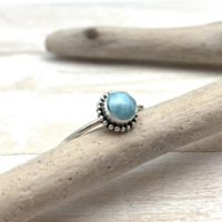 Larimar Dainty Silver Ring / Small Larimar Bali Bead Ring / Boho / Delicate Larimar Ring / Everyday Larimar Size 5, 6, 7, 8, 9, 10 | Natural genuine Gemstone jewelry. Buy crystal jewelry, handmade handcrafted artisan jewelry for women.  Unique handmade gift ideas. #jewelry #beadedjewelry #beadedjewelry #gift #shopping #handmadejewelry #fashion #style #product #jewelry #affiliate #ad