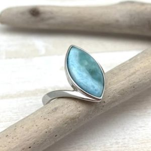 Shop Larimar Rings! Larimar Marquee Silver Ring Size 7, 8 – Larimar Sterling Ring – Natural Larimar Marquee Ring – Larimar Statement Ring – 925 Sterling Silver   Natural genuine Larimar rings, simple unique handcrafted gemstone rings. #rings #jewelry #shopping #gift #handmade #fashion #style #affiliate #ad