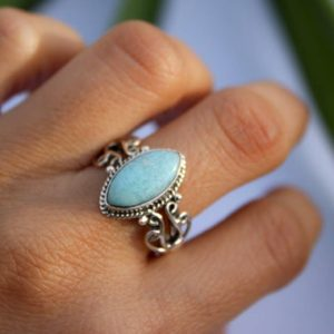 Larimar Ring, Sterling Silver Marquise shape Larimar Ring, Boho Ring, Dominican Republican Natural Blue Larimar stone Ring, Dainty Ring | Natural genuine Gemstone rings, simple unique handcrafted gemstone rings. #rings #jewelry #shopping #gift #handmade #fashion #style #affiliate #ad