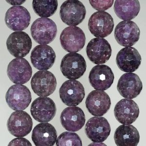 Shop Lepidolite Faceted Beads! 10mm Purple Lepidolite Gemstone Grade AA Faceted Round Loose Beads 16 inch Full Strand (90188477-653)   Natural genuine faceted Lepidolite beads for beading and jewelry making.  #jewelry #beads #beadedjewelry #diyjewelry #jewelrymaking #beadstore #beading #affiliate #ad