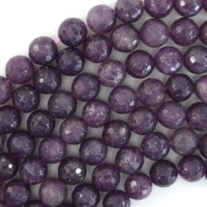 """10mm faceted purple lepidolite round beads 15.5"""" strand 39689 