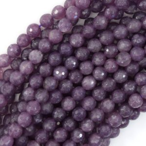 """6mm faceted purple lepidolite round beads 15.5"""" strand 39687 