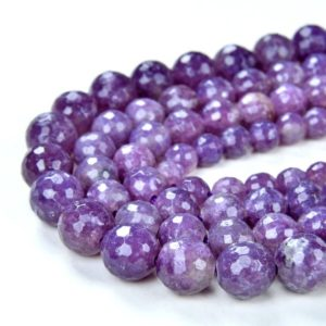 Shop Lepidolite Beads! Genuine Natural Lepidolite Gemstone Lilac Purple Grade AA Faceted Round 6mm 8mm 10mm Loose Beads (A284)   Natural genuine beads Lepidolite beads for beading and jewelry making.  #jewelry #beads #beadedjewelry #diyjewelry #jewelrymaking #beadstore #beading #affiliate #ad