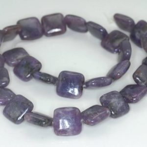 Shop Lepidolite Bead Shapes! 14X14mm Purple Lepidolite Gemstone Grade A Square Beads 16 inch Full Strand BULK LOT 1,2,6,12 and 50 (90188347-670) | Natural genuine other-shape Lepidolite beads for beading and jewelry making.  #jewelry #beads #beadedjewelry #diyjewelry #jewelrymaking #beadstore #beading #affiliate #ad