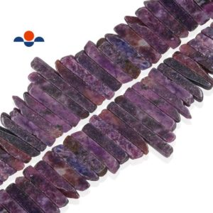 """Shop Lepidolite Bead Shapes! Purple Lepidolite Graduated Stick Beads Size Approx 30mm to 70mm 15.5"""" Strand 