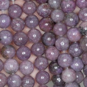 Shop Lepidolite Round Beads! 10mm Violet Purple Lepidolite Gemstone Grade A Round Beads 16 inch Full Strand BULK LOT 1,2,6,12 and 50 (90188485-653) | Natural genuine round Lepidolite beads for beading and jewelry making.  #jewelry #beads #beadedjewelry #diyjewelry #jewelrymaking #beadstore #beading #affiliate #ad