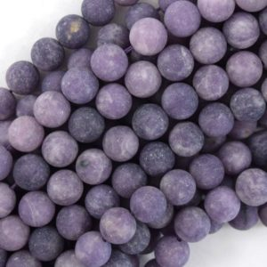"""Shop Lepidolite Round Beads! Natural Matte Purple Lepidolite Round Beads 15.5"""" Strand 4mm 6mm 8mm 10mm 12mm 