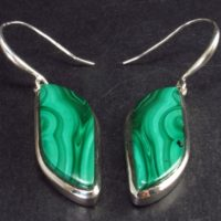 Queen Of Green!! Rich Vivid Vibrant Green Malachite Dangling Ss Earrings – 1.9"