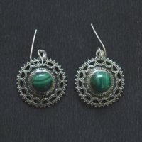 Malachite Silver Earring, Round Handmade Earring, Dainty Earring, 925 Sterling Silver Jewelry, Boho Earring, Gift For Her Gner 15 | Natural genuine Gemstone jewelry. Buy crystal jewelry, handmade handcrafted artisan jewelry for women.  Unique handmade gift ideas. #jewelry #beadedjewelry #beadedjewelry #gift #shopping #handmadejewelry #fashion #style #product #jewelry #affiliate #ad