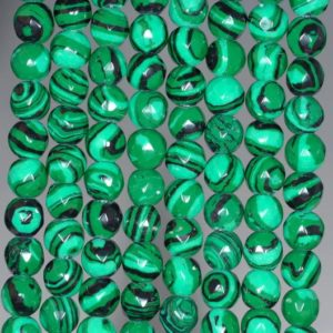 Shop Malachite Faceted Beads! 4mm Hedge Maze Malachite Gemstone Green Faceted Round 4mm Loose Beads 15.5 inch Full Strand (90146392-154) | Natural genuine faceted Malachite beads for beading and jewelry making.  #jewelry #beads #beadedjewelry #diyjewelry #jewelrymaking #beadstore #beading #affiliate #ad