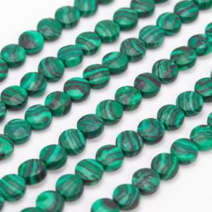 """Shop Malachite Faceted Beads! 6MM Malachite Green Color Calsilica Beads Faceted Flat Round Button Grade AAA Loose Beads 15"""" / 7.5"""" Bulk Lot Options (111641) 