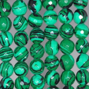 Shop Malachite Faceted Beads! 8mm Hedge Mazes Malachite Gemstone Green Faceted Round 8mm Loose Beads 15.5 inch Full Strand (90146419-217) | Natural genuine faceted Malachite beads for beading and jewelry making.  #jewelry #beads #beadedjewelry #diyjewelry #jewelrymaking #beadstore #beading #affiliate #ad