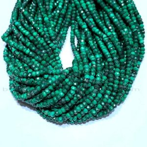 Shop Malachite Faceted Beads! Tiny Malachite Rondelle Beads Micro Faceted 3x2mm 4x3mm Natural Malachite Green Gemstone Genuine Small Malachite Semi Precious Spacer Beads | Natural genuine faceted Malachite beads for beading and jewelry making.  #jewelry #beads #beadedjewelry #diyjewelry #jewelrymaking #beadstore #beading #affiliate #ad